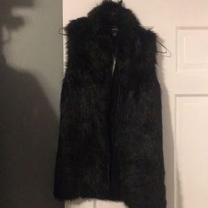 Black vegan fur vest with knit back